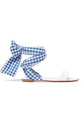 Christian Louboutin Sandale Du Desert Leather And Gingham Canvas Sandals White Gbp