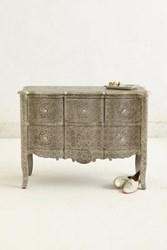 Anthropologie Hand Embossed Four Drawer Dresser Silver