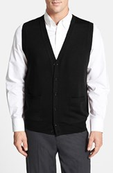 Men's Nordstrom Button Front Merino Wool Vest Black Caviar