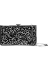 Halston Heritage Woman Embellished Woven And Silver Tone Box Clutch Black