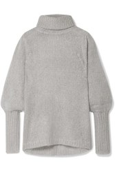 Apiece Apart Valencia Open Knit Turtleneck Sweater Gray