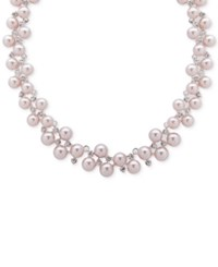 Anne Klein Silver Tone Crystal And Pink Imitation Pearl Collar Necklace
