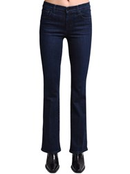 J Brand Salli Mid Flared Cotton Denim Jeans Dark Blue