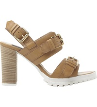 Dune Jaimie Cleated Buckle Sandals Tan Leather