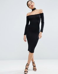 Asos Long Sleeve Off The Shoulder Bardot Midi Bodycon Dress With Lace Choker Collar Black