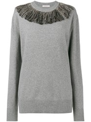 Christopher Kane Fringed Neck Jumper Polyester Viscose Cashmere Metallized Polyester L Grey