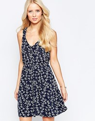 Iska Button Through Sundress In Ditsy Print Navy