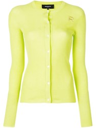 Rochas Embroidered Logo Ribbed Cardigan Green