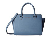 Michael Michael Kors Selma Medium Top Zip Satchel Denim Satchel Handbags Blue