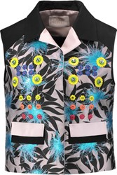 Peter Pilotto Asteroid Paneled Embellished Jacquard And Cotton Canvas Vest Blue