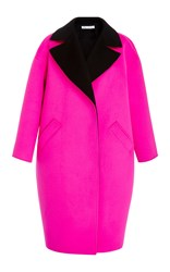 Oscar De La Renta Oversized Notch Collar Coat Pink