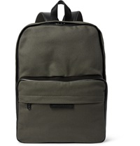 Marc By Marc Jacobs Leather Trimmed Cotton Canvas Backpack Green