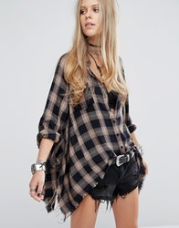Kiss The Sky Oversized Checked Shirt With Raw Hems Multi