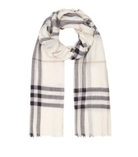 Burberry Shoes And Accessories Gauze Giant Check Wool Silk Scarf Female Cream
