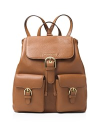Michael Michael Kors Cooper Flap Large Pebbled Leather Backpack Luggage Gold
