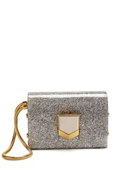 Jimmy Choo Lockett Minaudiere Glitter Clutch Silver