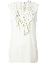 Marni Ruffle Neck Top White