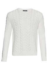 French Connection Men's Flux Cable Knit Jumper Winter White