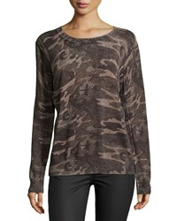 Haute Hippie Abstract Camouflage Sweater Camo Multi