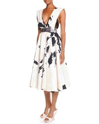 Donna Karan Splatter Brush Belted Dress Women's Multi