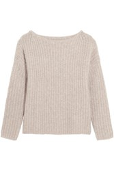 Vince Ribbed Cashmere Blend Sweater Beige
