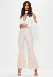 Missguided Nude Knee Flare Tapered Trousers