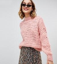 River Island Embellished Stitch Sweater In Pink Pink