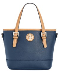 Giani Bernini Saffiano Mini Convertible Tote Created For Macy's Navy