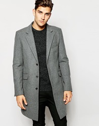 Asos Wool Overcoat In Light Grey Lightgrey