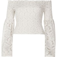 River Island White Lace Shirred Bardot Bell Sleeve Crop To