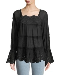 Johnny Was Alora Lace Trim Tiered Blouse Black