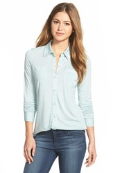 Women's Caslon Long Sleeve Knit Shirt Blue Raindrop