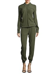 Monrow Solid Button Down Jumpsuit Camo