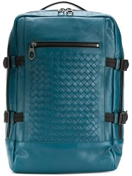Bottega Veneta Intrecciato Detailed Backpack Blue