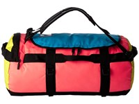 The North Face Base Camp Duffel Medium Tropical Coral Blazing Yellow Duffel Bags Pink