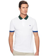 Fred Perry Colour Block Pique Shirt White Men's Clothing