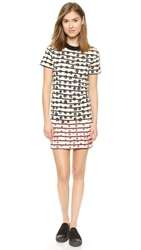 Sonia Rykiel Striped Flowers T Shirt Dress Off White Navy Berry