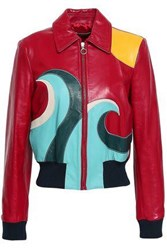 Red Valentino Color Block Leather Bomber Jacket Merlot