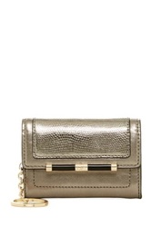 Diane Von Furstenberg Metallic Leather Card Case Wallet