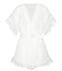 Zimmermann Jasper Dot Floating Cotton Playsuit White