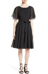 Kate Spade Women's New York Belted Clipped Silk Chiffon Dress