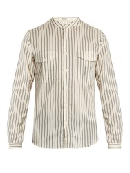 Editions M.R Mandarin Collar Striped Cotton Shirt White Multi
