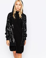 Story Of Lola Festival Longline All Over Sequin Hoodie Black