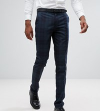 Farah Tall Skinny Suit Trousers In Check Green