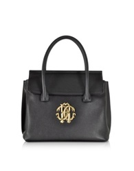 Roberto Cavalli Black Small Tote W Rc Golden Logo