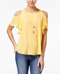 Amy Byer Bcx Juniors' Ruffle Sleeve Cold Shoulder Top With Necklace Banana