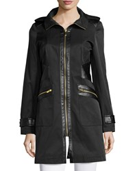 Via Spiga Hooded Zip Front Jacket With Faux Leather Trim Black