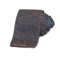 40 Colori Petrol And Orange Double Threaded Linen And Silk Knitted Tie