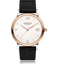 Montblanc Star Rose Gold Plated Stainless Steel And Leather Watch