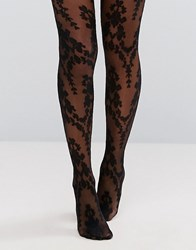 Ann Summers Paisley Floral Tights Black